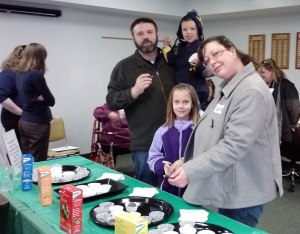 Visitors happy with their National Girl Scout Cookie Day treats at our Freeport Service Center