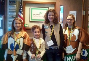 Emily W., Isabella M., Emily T., and Annabelle L. [left to right] helped visitors at our Sugar Grove Service Center.